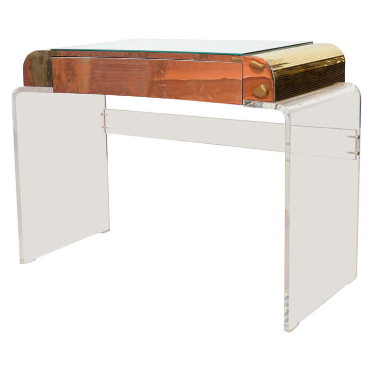Mid Century Vanity Table In Lucite, Brass And Mirror 1