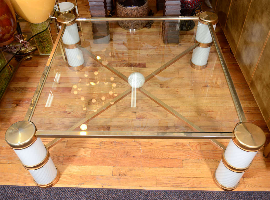Mid Century Italian Brass And Murano Glass Coffee Table At 1stdibs