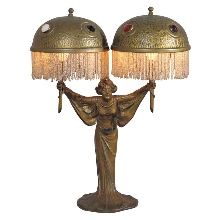 Art Nouveau Jeweled Lamp At 1stdibs