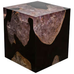 Andrianna Shamaris Espresso Teak Wood and Cracked Resin Side Table