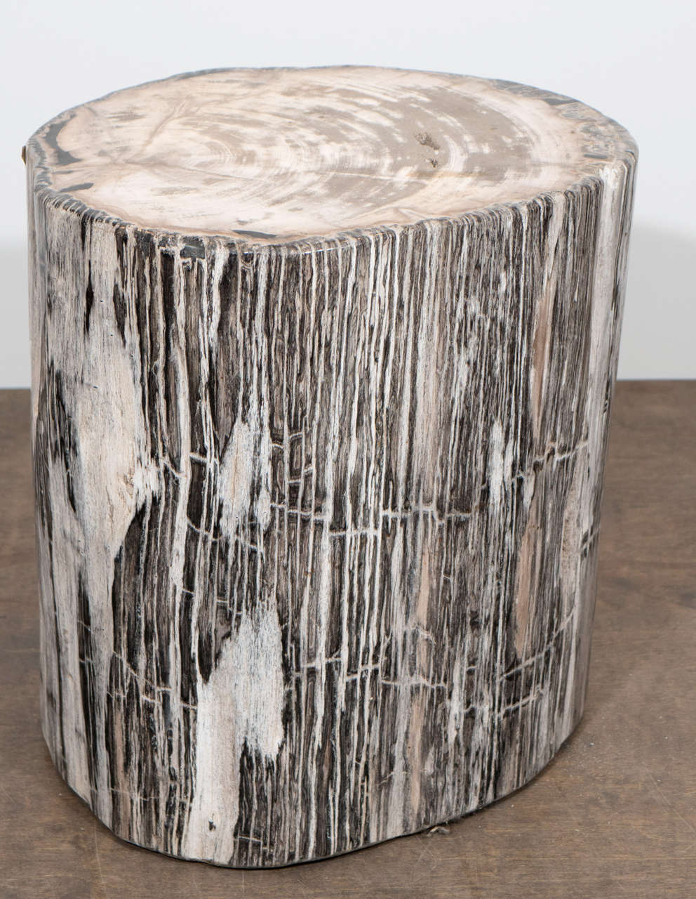 High quality petrified wood side table. Petrified wood is a fossil. It forms when plant material is buried by sediment and protected from decay by oxygen and organisms. Then, groundwater rich in dissolved solids flows through the sediment replacing