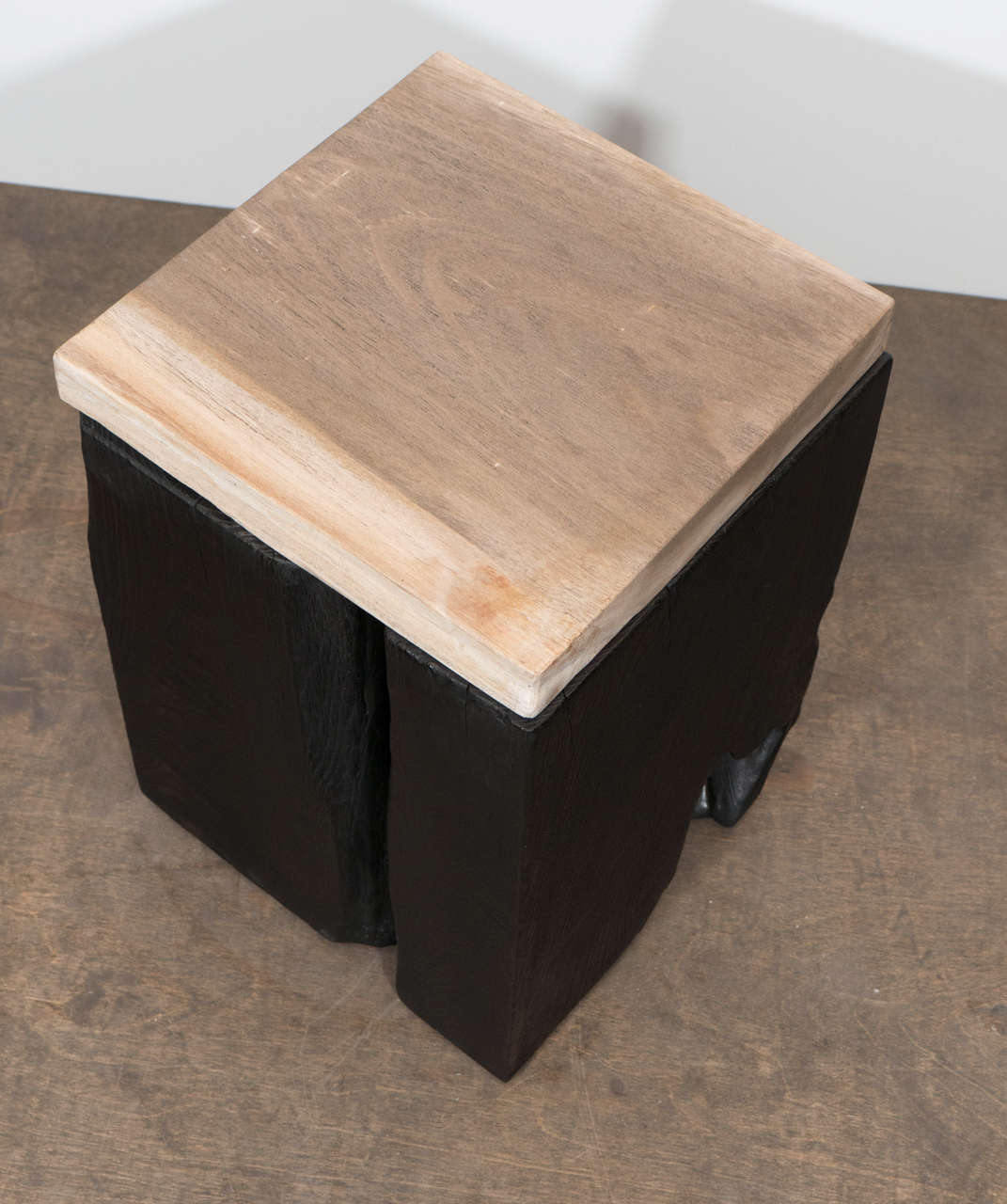 Andrianna Shamaris Triple Burnt Teak Wood Side Table with Petrified Wood Top In New Condition For Sale In New York, NY