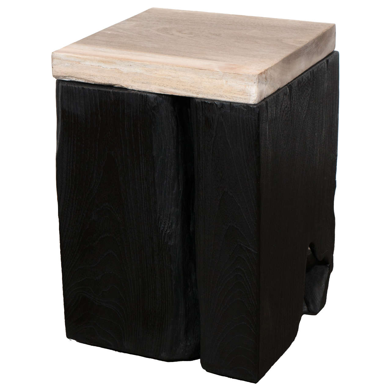 Andrianna Shamaris Triple Burnt Teak Wood Side Table with Petrified Wood Top