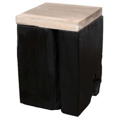Andrianna Shamaris Triple Burnt Teak Wood Side Table with Petrified Wood Top