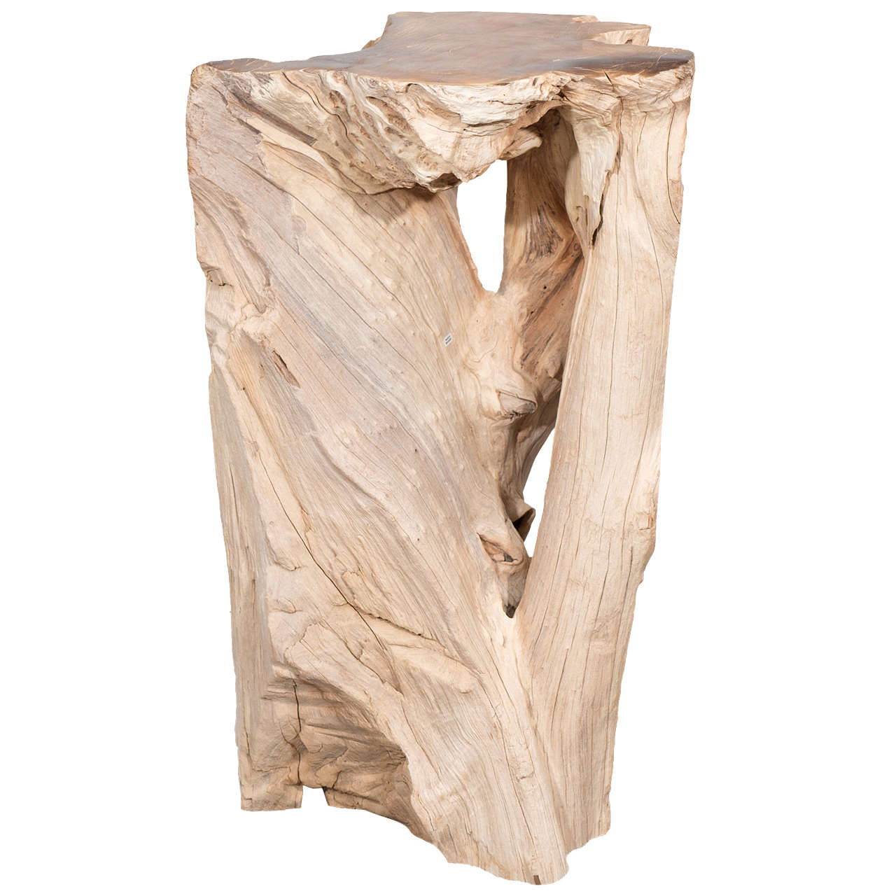 Organic Reclaimed Teak Wood Table Base Or Pedestal For Sale