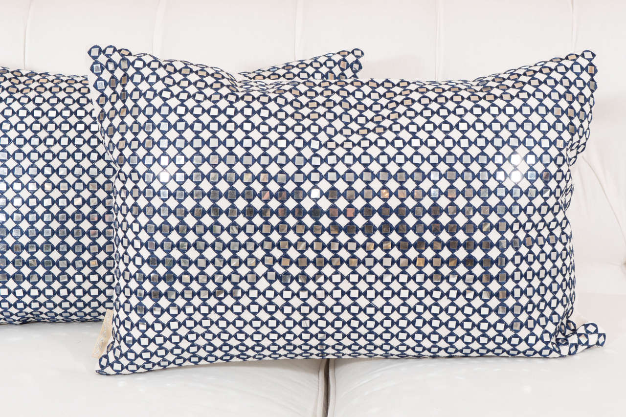 American Pair of Sparkly Pillows For Sale