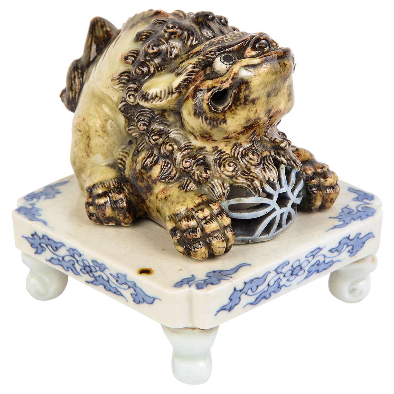 "19th Century Shishi Hirado Porcelain Incense Burner ""Koro"""