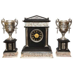 Neoclassical Three-Piece Silvered Bronze and Black Marble Clock Set