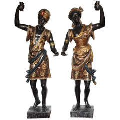 Pair of Lifesize Venetian Blackamoor Figures