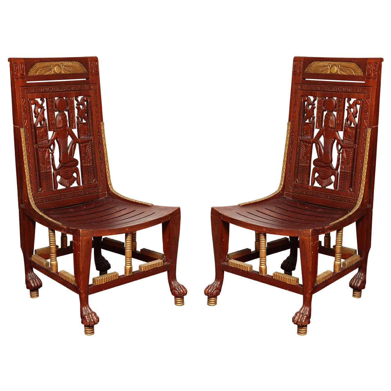 Pair Of Egyptian Revival Chairs For Sale
