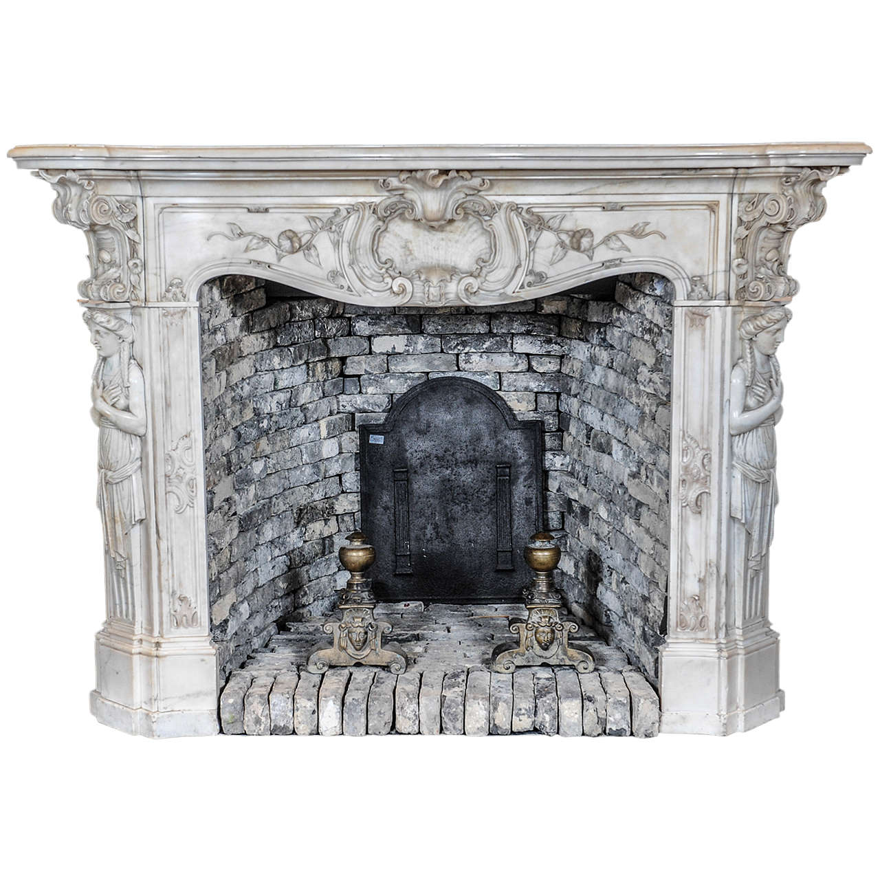 Carved 19th century french rococo statuario marble fireplace or mantel piece at 1stdibs - Fireplace mantel piece ...