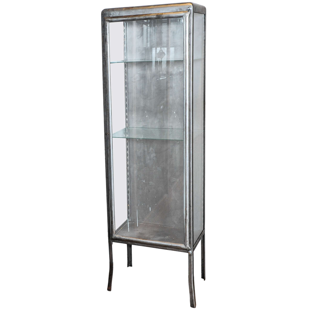Beau A 1930s French Wrought Iron And Glass Display Cabinet / Vitrine