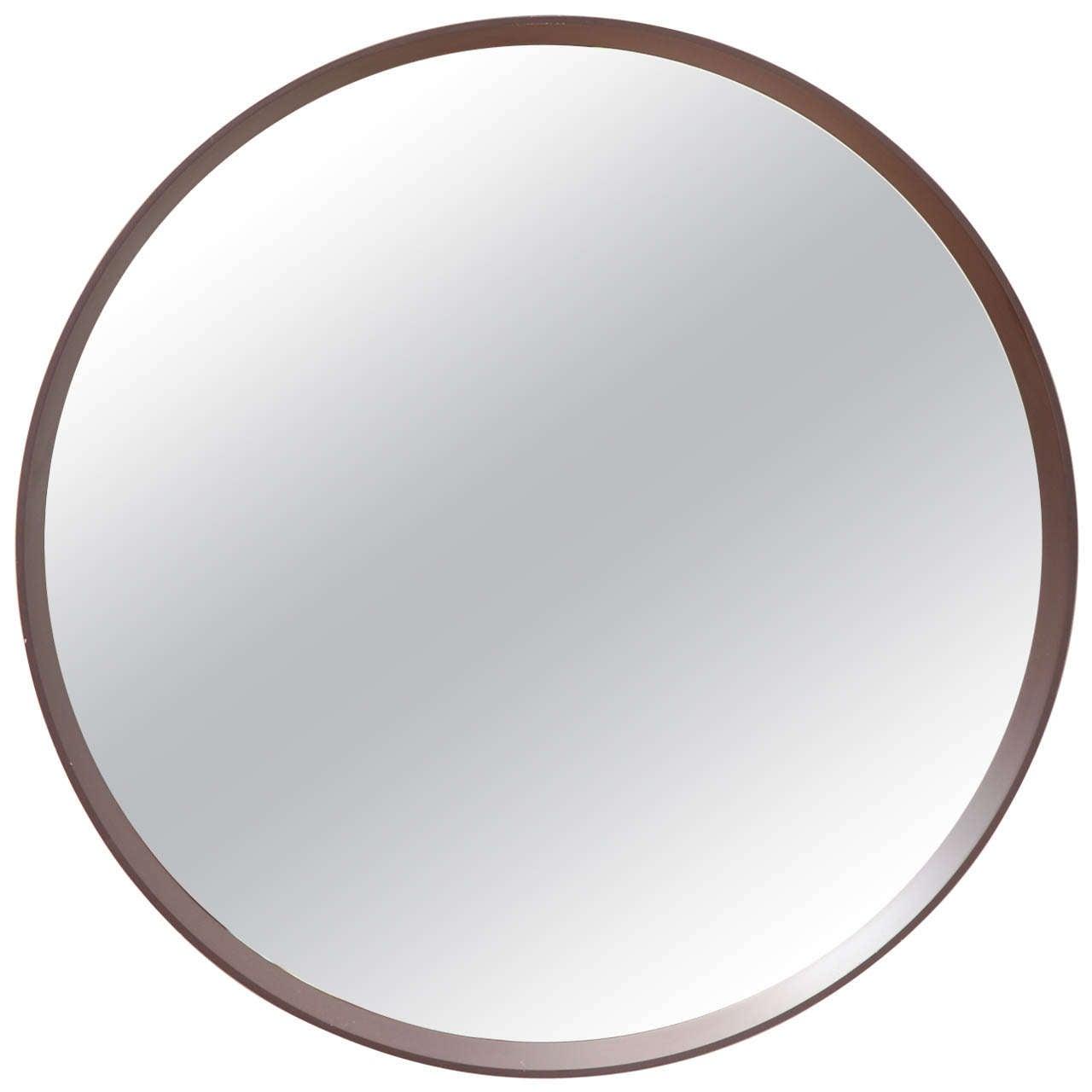 Mid century modern round mirror at 1stdibs for Modern mirrors