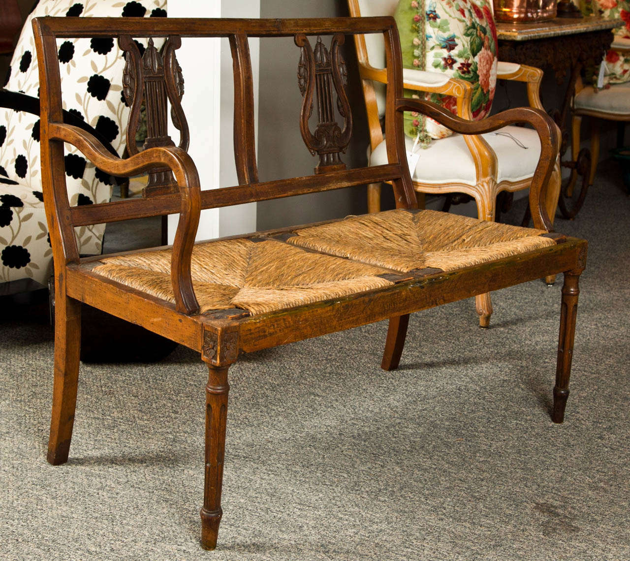 Carved Walnut Bench, Late 19th Century, Italy For Sale 1