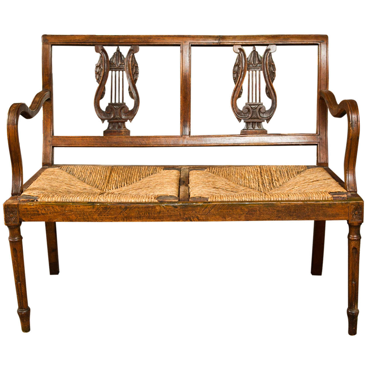 Carved Walnut Bench, Late 19th Century, Italy For Sale