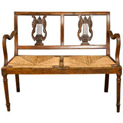 Carved Walnut Bench, Late 19th Century, Italy