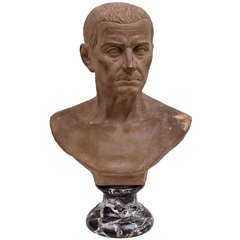 19th Century Terracotta Bust of Roman Figure Possibly Julius Caesar