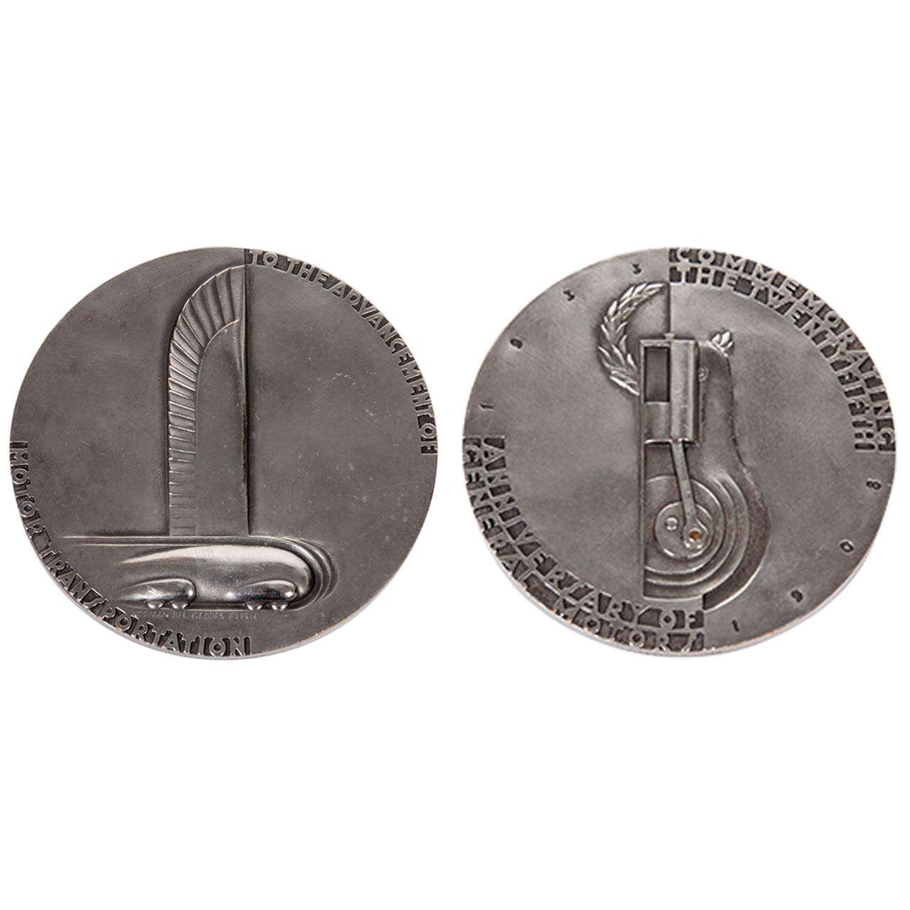 Norman Bel Geddes Art Deco Streamline Medal 25th anniversary of GM ...