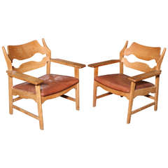 Danish Leather Armchairs Chairs by Henning Kjaernulf, Pair