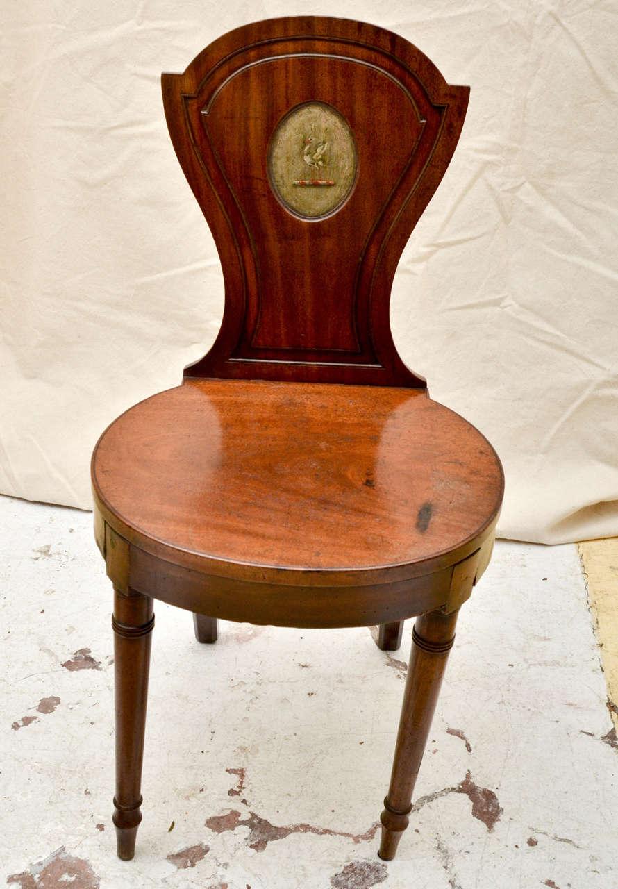 English Mahogany Late 18th Early 19th Century Hall Chair