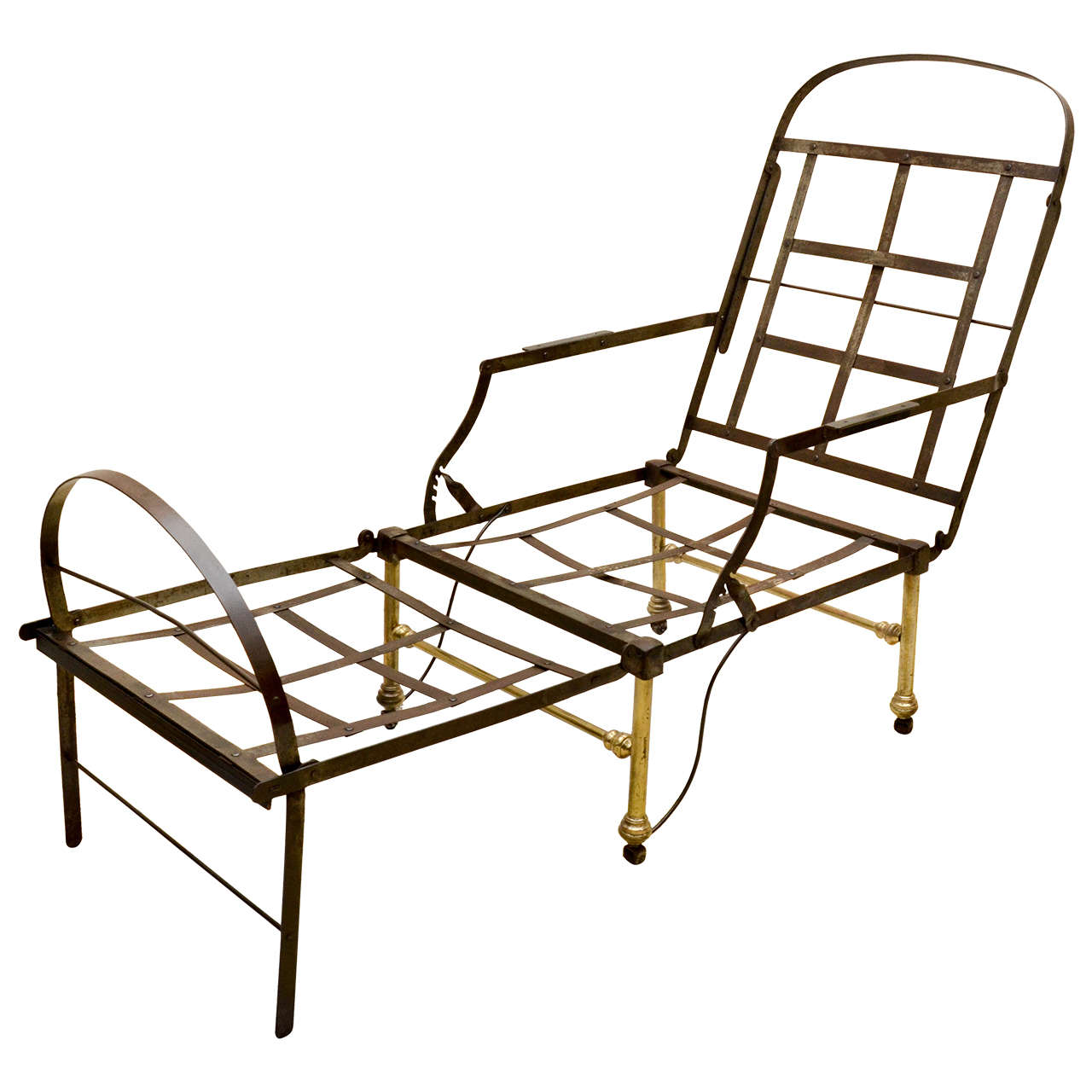 19th century english polished steel campaign chaise longue at 1stdibs. Black Bedroom Furniture Sets. Home Design Ideas