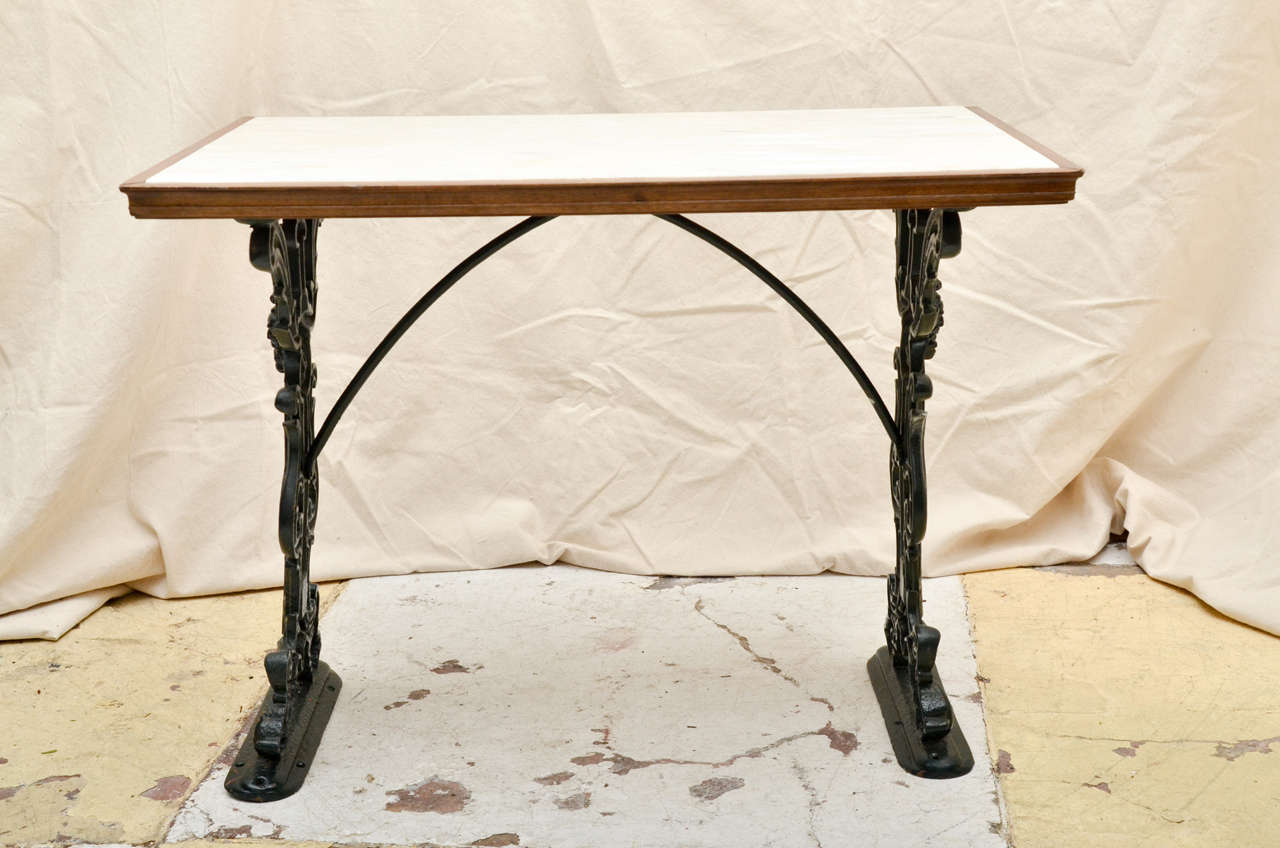 English Victorian Cast Iron Rectangular, Marble Top Pub Table 2