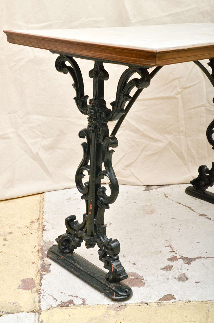 Victorian furniture table - English Victorian Cast Iron Rectangular Marble Top Pub Table 3