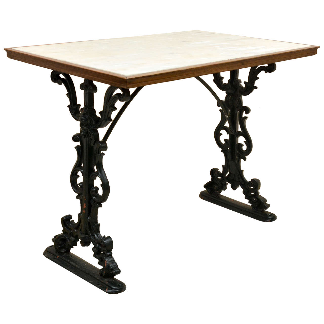 Victorian furniture table - English Victorian Cast Iron Rectangular Marbletop Pub Table 1