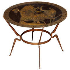 Mid-Century Neoclassical Glass and Gilt Iron Low Table