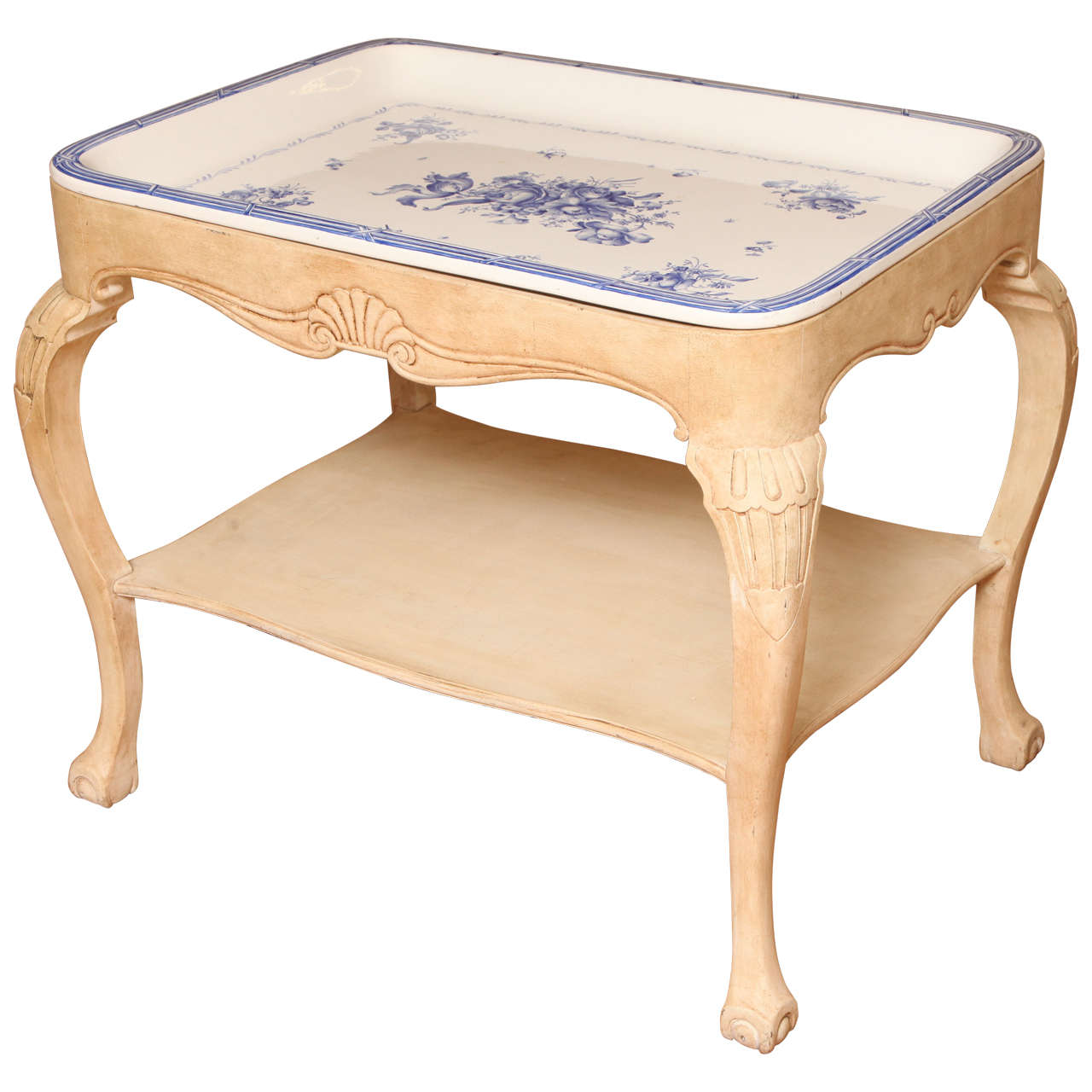 Swedish Rörstrand Blue and White Porcelain Tray Table