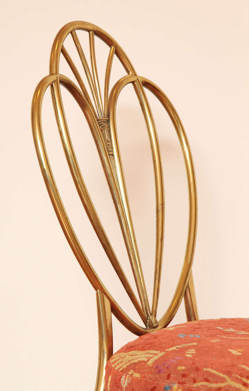 Set of 2 1960s Chiavari Brass Chairs In Excellent Condition For Sale In New York, NY