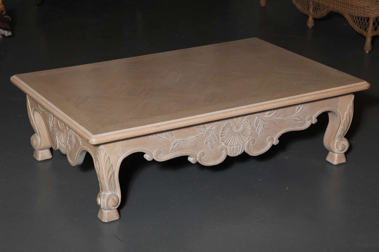 Large white washed oak baroque revival coffee table for sale at large white washed oak baroque revival coffee table 3 geotapseo Choice Image