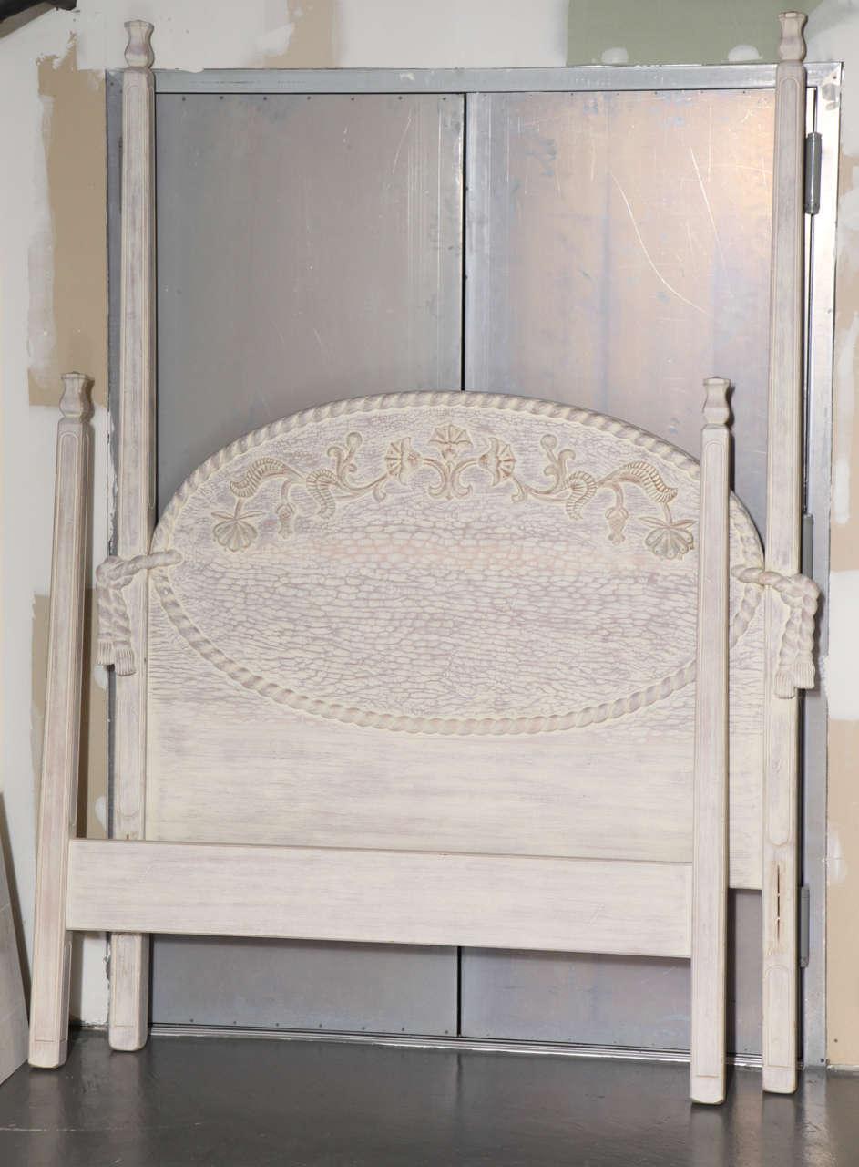 Image of 4 poster king bed wood pickled bedroom furniture Short canopy bed