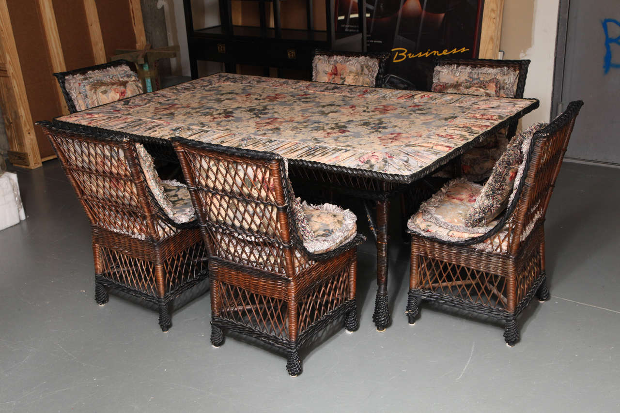 antique bar harbor style wicker dining set at 1stdibs