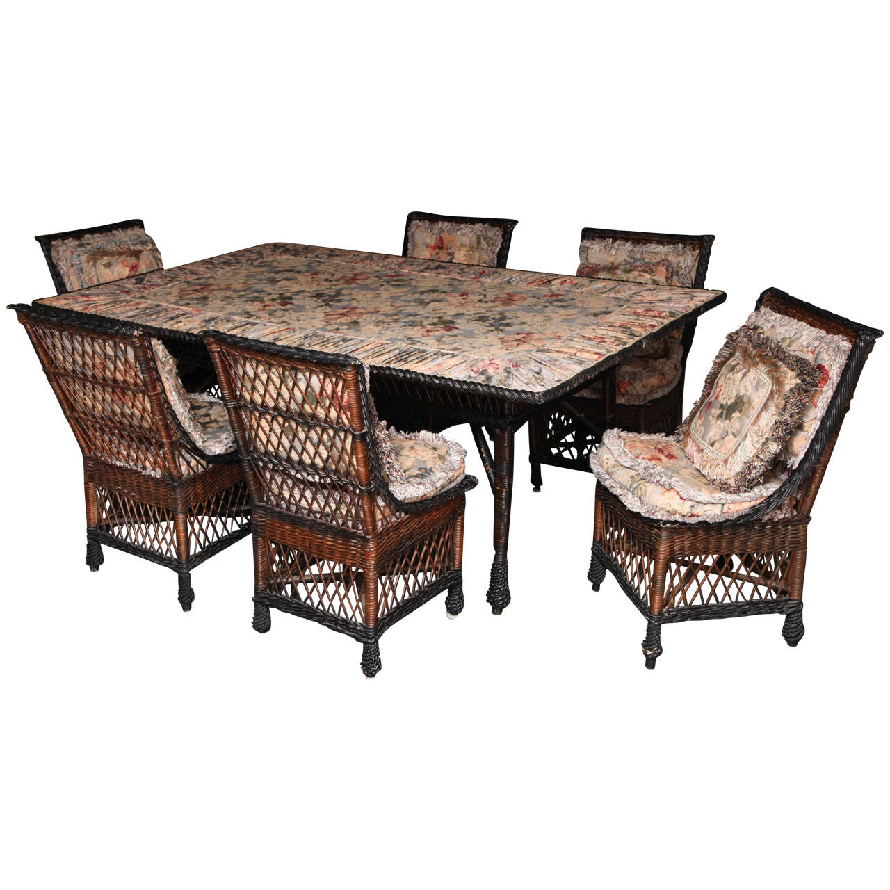 Wicker Dining Table Sets ~ Antique bar harbor wicker dining table and set of chairs