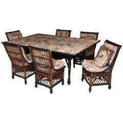 Antique Bar Harbor Wicker Dining Table and Set of Chairs