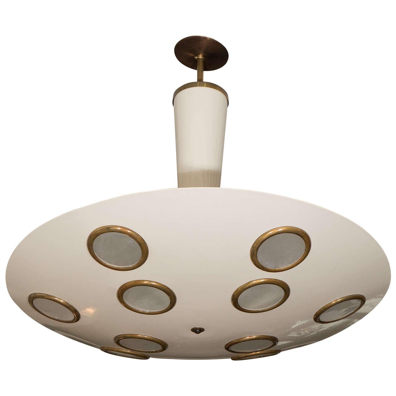 Lumen Italian 1950s Light Fixture With Circular Designs At