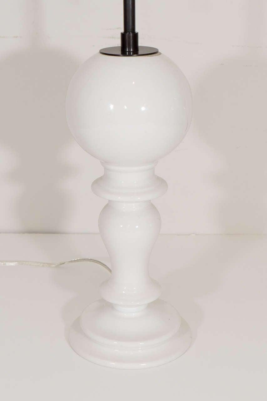 Giovanni patrini italian white ceramic lamps globe and pedestal base for sale at 1stdibs - Ceramic pedestal table base ...