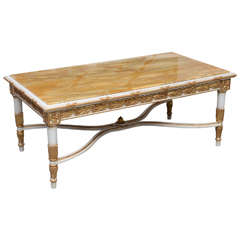 Italian Neoclassic Style Marble-Top, Painted and Parcel-Gilt Low Table