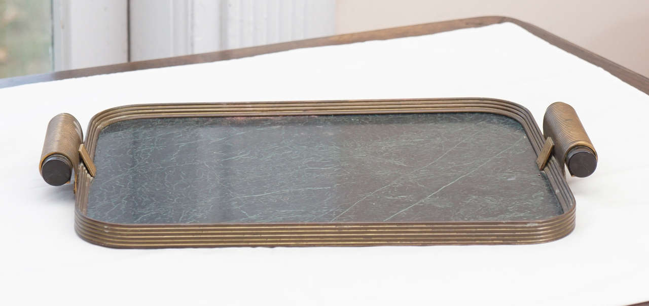 Art Deco Faux Marble and Bakelite Tray with Copper Frame at 1stdibs