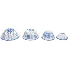 Four Blue and White Faience Cooking Molds
