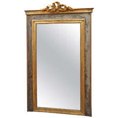 Classical Grey Painted and Parcel-Gilt Mirror
