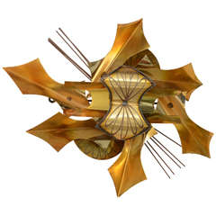Mid Century Metal Wall Sculpture Saturday  Sale