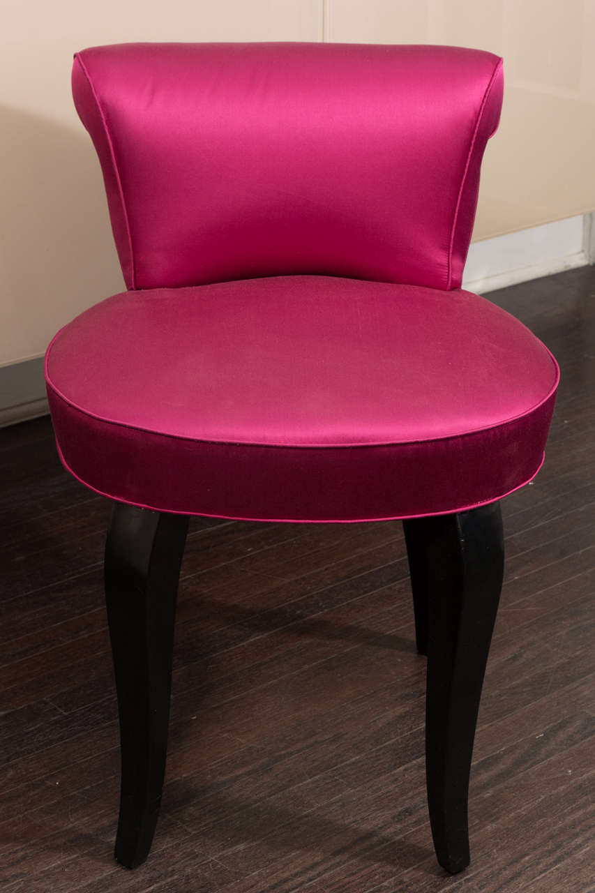 pink vanity chair  Vintage 1940s French Vanity Stool in Hot Pink Satin and Ebony Leg at ...