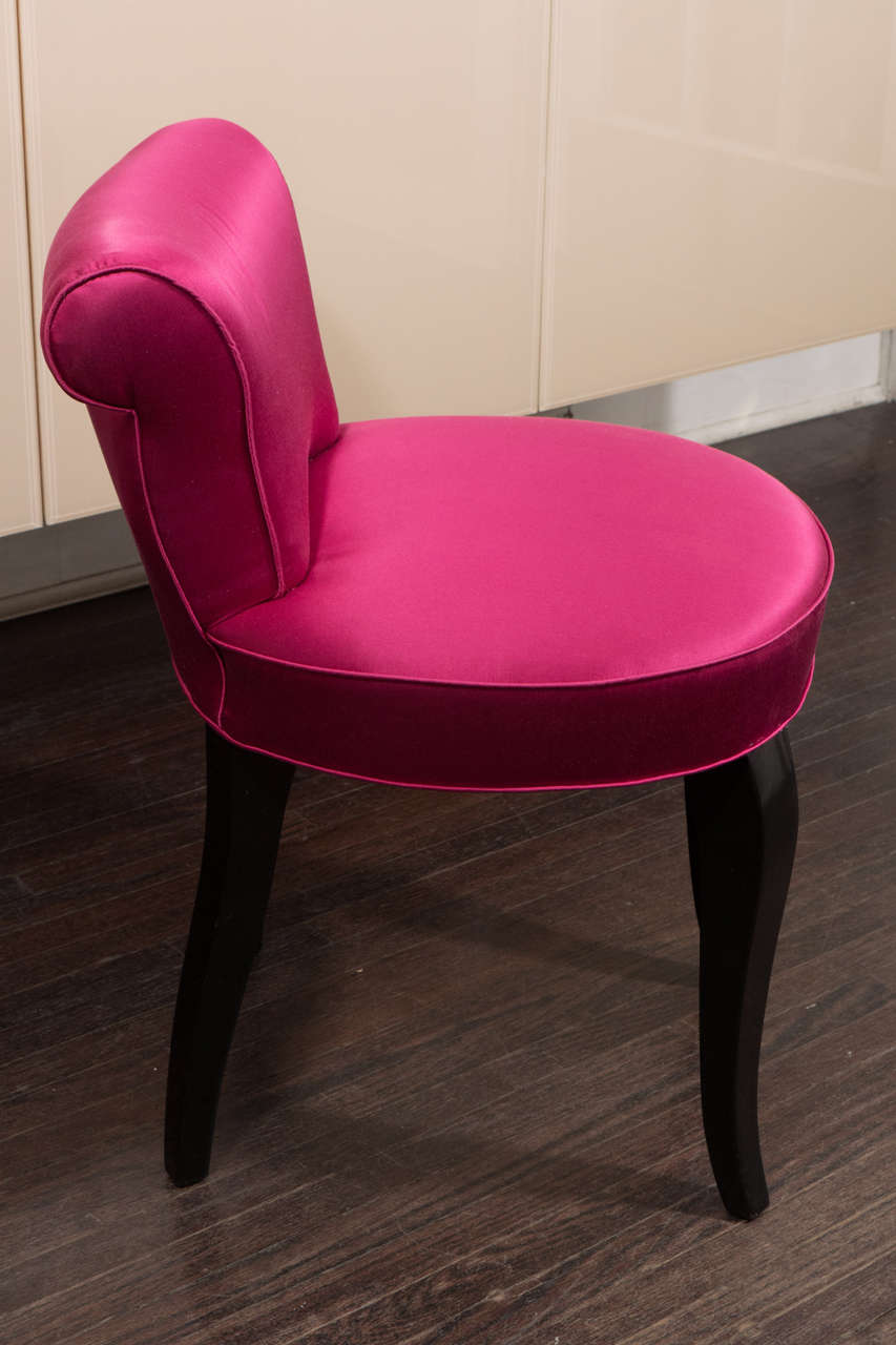 Vintage 1940s French Vanity Stool in Hot Pink Satin and Ebony Leg