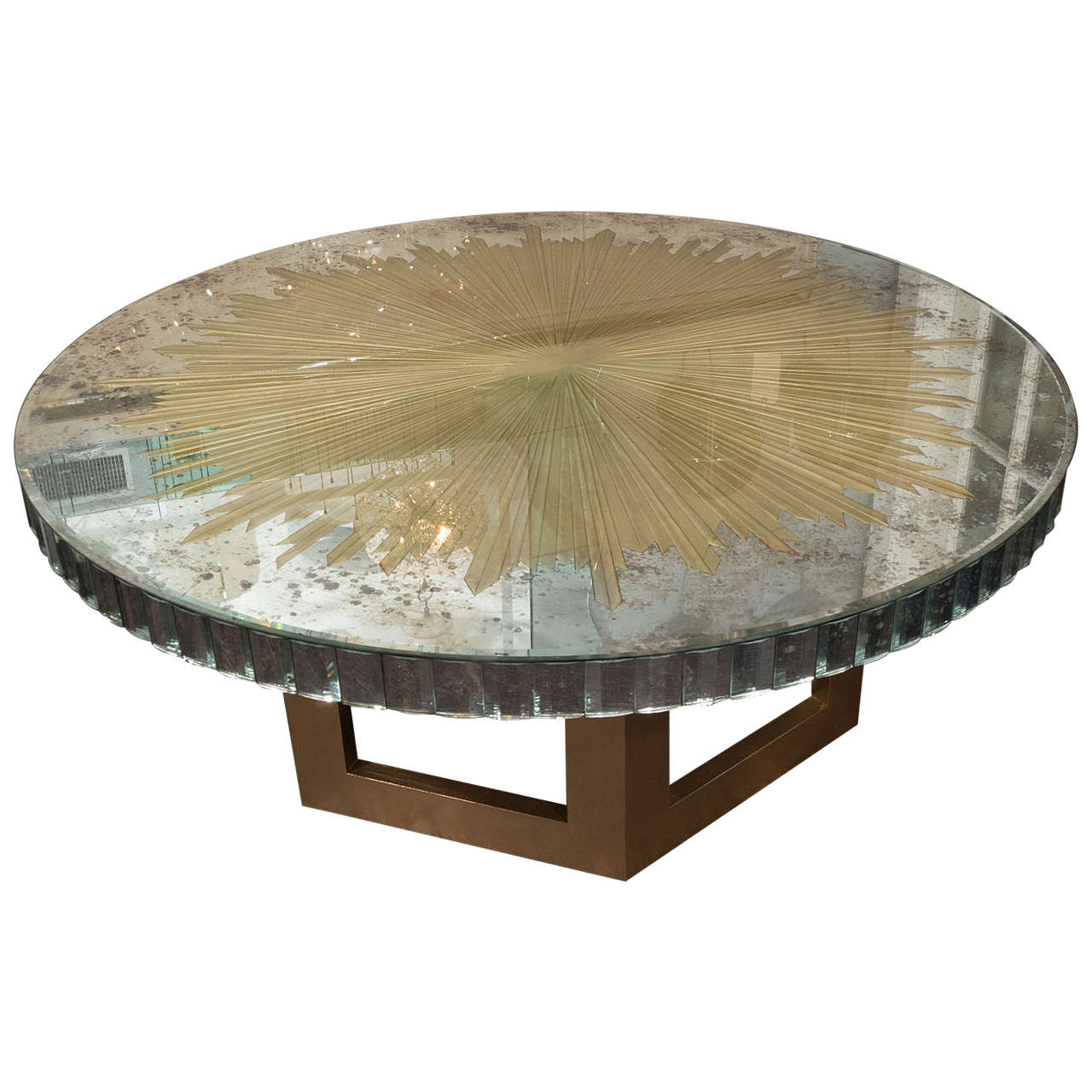 vintage glomis mirrored glass table with gold leafed