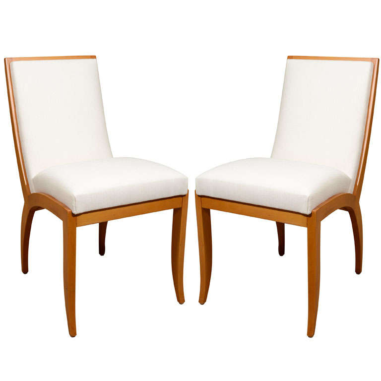 pair of modern oak dining chairs for sale at 1stdibs