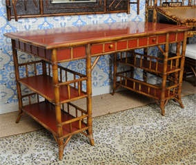 Bamboo Desk with Red Lacquer Top Labeled Milling Road image 3