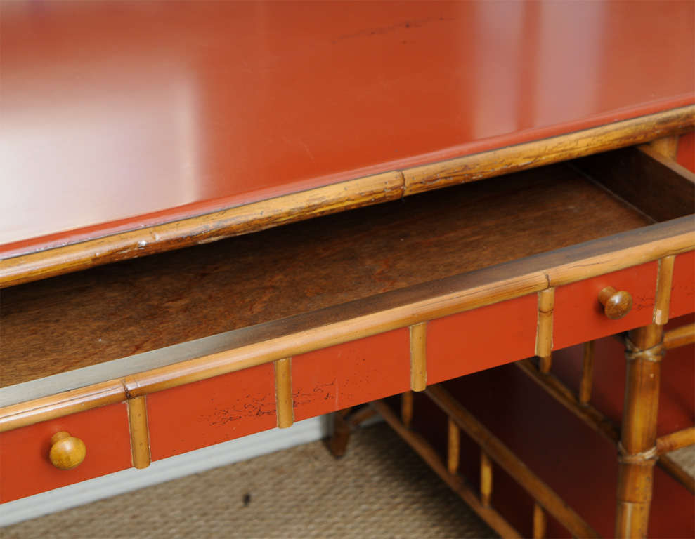 Bamboo Desk with Red Lacquer Top Labeled Milling Road 4