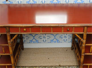 Bamboo Desk with Red Lacquer Top Labeled Milling Road image 9
